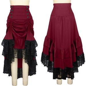 Victorian Gothic Steampunk Clothing Ruffle Skirt